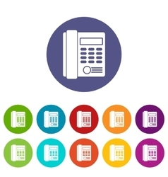 Office business keypad phone set icons vector