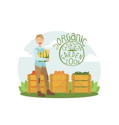 organic green garden smiling man with fresh bio vector image