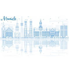 Outline munich skyline with blue buildings and vector