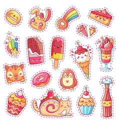 patches sweet strawberry dessert cherry ice vector image