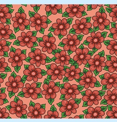 Pattern with flowers on an orange background vector