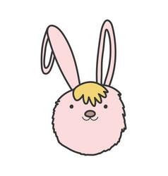pink rabbit head adorable toy icon vector image