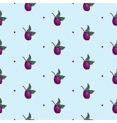 Plum branch with fruit seamless pattern vector
