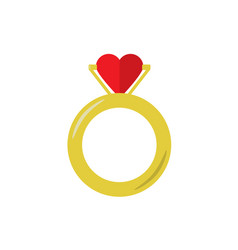 Proposal golden ring with heart flat on white vector