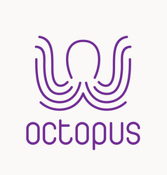 purple octopus logo vector image