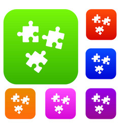 puzzle set collection vector image