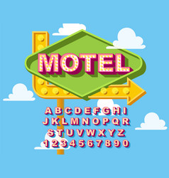 Retro light bulb bright alphabet modern vector
