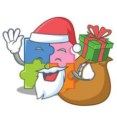 Santa wiith gift puzzle mascot cartoon style vector