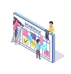 Schedule planning people creating timetable vector