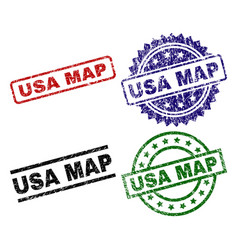 scratched textured usa map stamp seals vector image