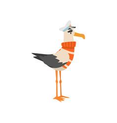 seagull sailor funny bird cartoon character in vector image
