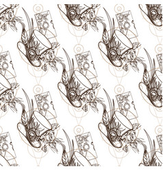 seamless pattern from outline drawings of a hat vector image