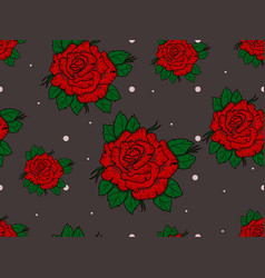 Seamless pattern with red roses on gray background vector