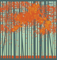 seamless pattern with slender autumn trees vector image