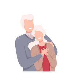 Senior happy couple standing close to each other vector
