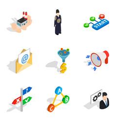 Seo professional icons set isometric style vector