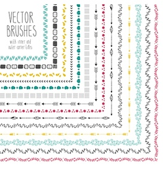 set hand drawn brushes with corner tiles vector image