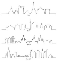 set of minimal linear skyline paris berlin vector image