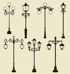 Set of vintage various ornamental streetlamps vector image