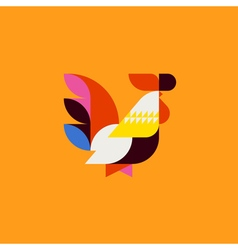Silhouette of cute patchwork style rooster vector