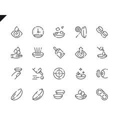 Simple set eye lens line icons for website vector