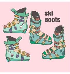 Ski boots handmade vector