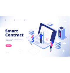 smart contract digital signature electronic vector image