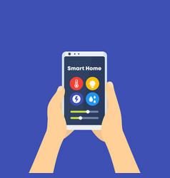Smart home control app phone in hands vector