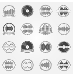 Sound logo and emblem set vector image