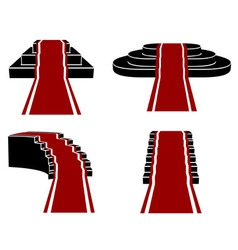 Staircases with Red Carpet Icons Set vector image