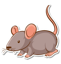 Sticker design with cute mouse isolated vector