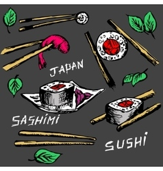 Sushi rolls flat food and japanese seafood sushi vector