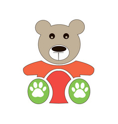 teddy bear icon flat design bear doll vector image
