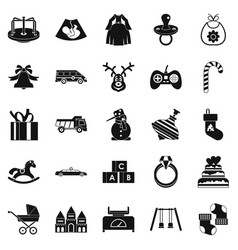 toy icons set simple style vector image