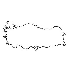 turkey map of black contour curves of vector image