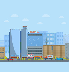 Urban city hospital concept megalopolis street vector