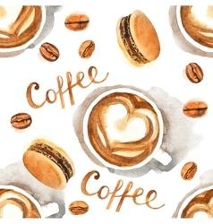 Watercolor coffee seamless vector