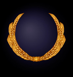 wheat ears in a wreath color gold vector image