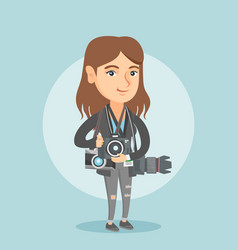 Young caucasian photographer with photo cameras vector