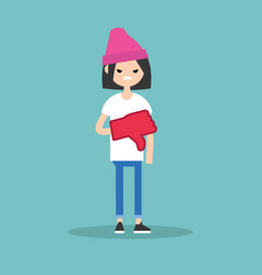 dislike concept displeased teenage girl wearing vector image vector image