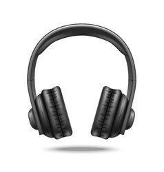 realistic detailed 3d black earphones vector image