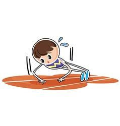 A boy performing push ups vector image vector image
