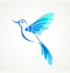 blue flying tropical bird vector image