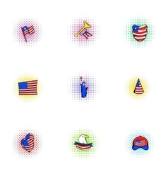 Independence of USA icons set pop-art style vector image vector image