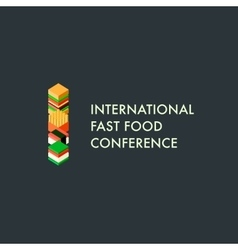 International fast food conference template logo vector image vector image