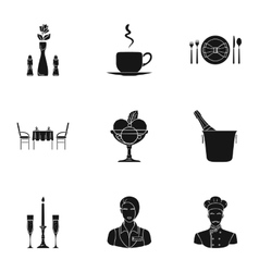 Restaurant set icons in black style Big vector image vector image