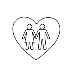 sketch silhouette couple inside of heart icon vector image
