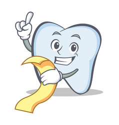 Tooth character cartoon style with menu vector