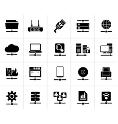 Black Computer Network and internet icons vector image vector image