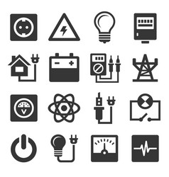 energy electricity icons set vector image vector image